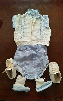 Vintage 1962 Newborn baby Boy's Outfit with Leather Shoes