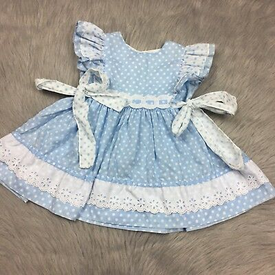 Vtg CI Castro Toddler Girls Blue White Polka Dot Ruffle Pinafore Dress
