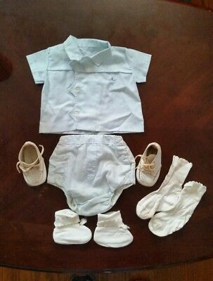 Vintage 1962 Newborn baby Boy's Outfit with Leather Shoes - #2