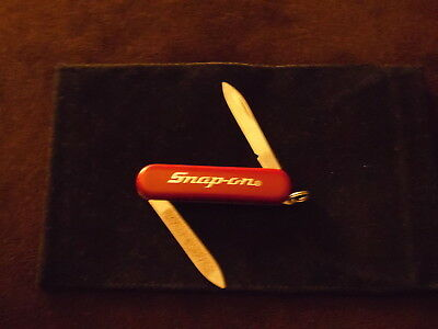 """Vintage Snap On Tools Swiss army Style Pocket Knife Red 2 1/2"""" long MINT"""