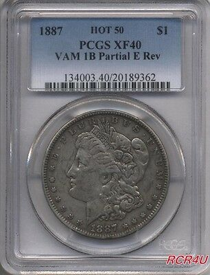 "Pcgs 1887 Xf-40 ""vam-1B Clashed E Reverse, Hot-50, R-6"" Original Morgan Dollar"