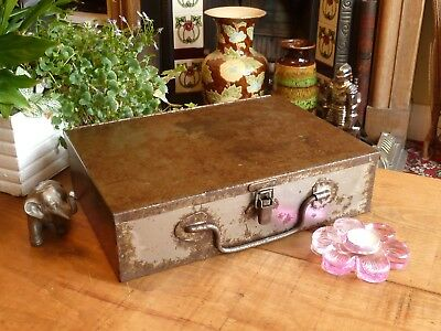 Distressed Patina Vintage Steel Box Clean Oiled Storage Retro Industrial Chic