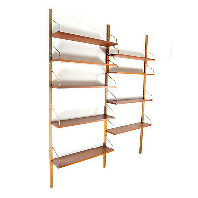 Retro Vintage Danish Teak Poul Cadovius Wall Book Shelving System Bookcase 60s
