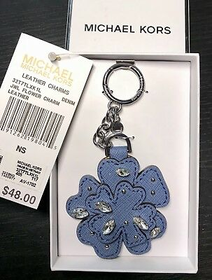 NWT/NIB!! MICHAEL KORS Crystal Leather Flower Key Chain Style# 32T7TLXK1L