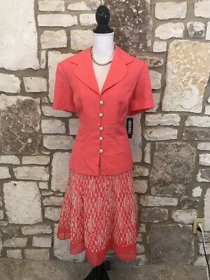 NWT 2 Pc Women's Dana Kay Skirt Suit Sz 16 Short Sleeve Coral Outfit
