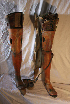 "(AA-11111) 1850's 30.5"" Artificial Prosthetic Legs-PAIR, Both left foot, jointed"
