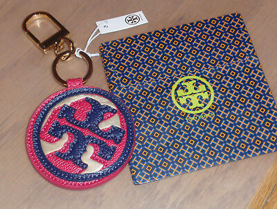New TORY BURCH Leather 3-Tone Kerrington Applique Key Fob Chain Purse Charm