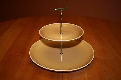 Russel Wright Iroquois Casual Ripe Apricot Two-Tiered Tray Dinner & Bread Plate