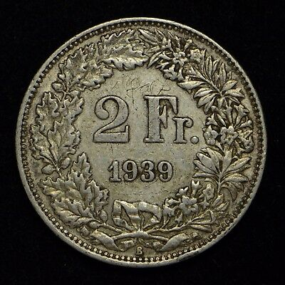 1939 Switzerland 2- Francs Silver (Alfons is Engraved in Coin) (cn4156)