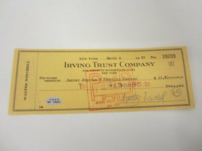 Walter Winchell Newspaper Columist signed autographed canceled check PAAS COA