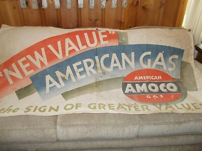 Rare Vintage 1930s/ 1940s Amoco American Gas Canvas Banner Sign and Photos