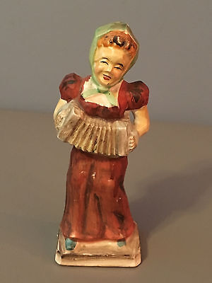 """Vintage 1900's Woman Accordian Glass Figures 5.5"""" Made in Japan"""