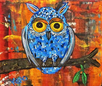 "BLUE OWL~BiRD 8"" x 10"" painting~KENO FOLK ART Abstract~outsider~COASTWALKER~USA"