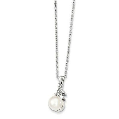 Sterling Silver 6 -7mm White Freshwater Cultured Pearl CZ Pendant