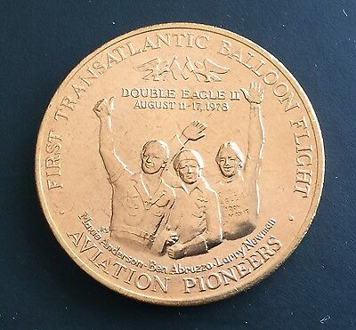 First Transatlantic Balloon Flight Aviation Token Flight Plane US Mint Medal