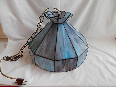Vintage Stained Slag Glass Purple Blue Hanging Lamp