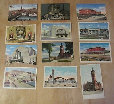 Vintage Postcard Lot Of 12 Train Stations IL MO KS PA OH WI IN NC Chicago++