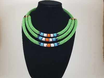ZULU Traditional South African Beaded Necklace/ Maasai /Beaded rope necklace.