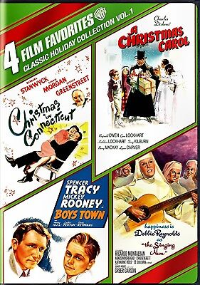 New  4Dvd - Christmas In Connecticut + Boys Town + Singing Nun + Christmas Carol