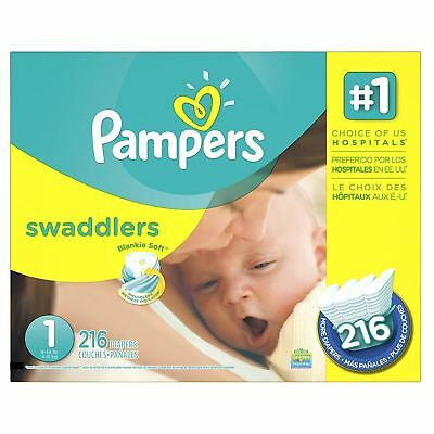 Pampers Swaddlers Diapers Size 1, Economy Pack Plus, 216 Count (Packaging...