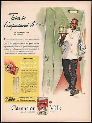 Vintage magazine ad CARNATION MILK 1946 black train porter K Gunnor Petersen art