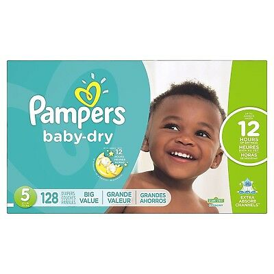 Pampers Baby Dry Diapers Size 5 - Economy Pack, 128 Count, (Packaging May Vary)