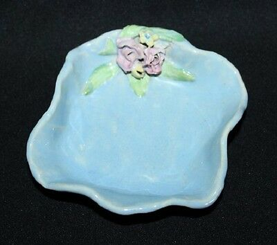 Vintage Sky Blue Glazed Pin Dish With Applied Pink Roses Australian Pottery