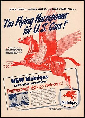 Vintage magazine ad MOBIL gas oil 1946 large Pegasus pictured Flying Horsepower