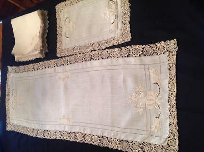 Antique Linen & Reticella Needle Lace Placemats Runner & Napkins Set