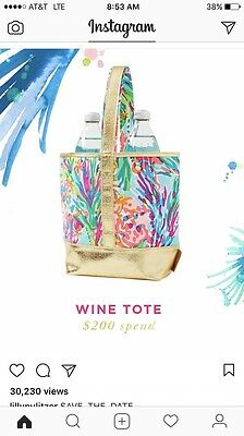 LILLY PULITZER NWT Wine Tote Fan Sea Pants GWP Free Shipping