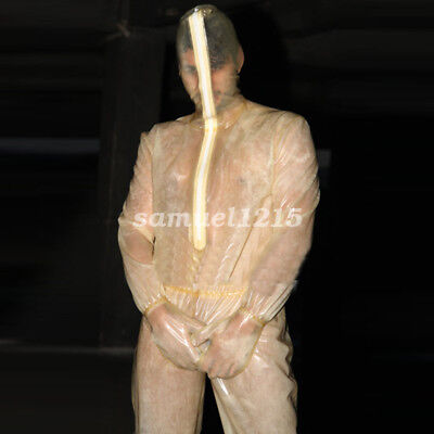 100% New Latex Rubber Bodysuit Catsuit Overall Zentai Transparent Size XXS-XXL