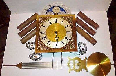Vintage Empero Grandfather Clock Movement Hermle 451-050H 85Cm Weights Pendulum