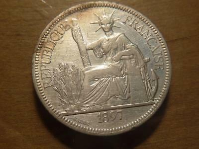 French Indo China 1897 Piastre Silver Cleaned VF-XF Details...SKU#12491