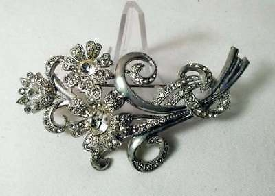 Vintage Brooch Huge Clear Rhinestone Floral Bouquet Art Deco 3.5""