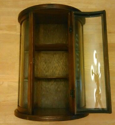 Vintage Miniature Curved Glass Wood Display Curio Cabinet Desk Wall 3 Shelves