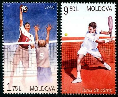 Volleyball Tennis set of 2 mnh stamps 2017 Moldova sports net