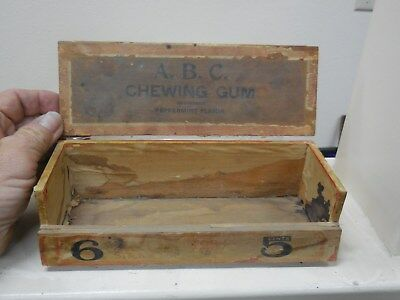 Antique A.b.c. Chewing Gum Wooden Store Distplay Forty 5 Cent Packs