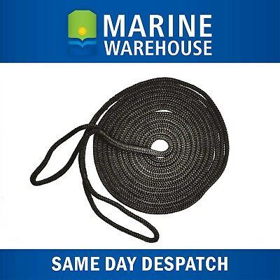 Mooring Rope Kit – 12mm X 9M Black Double Braid Dock Line W/ Loops 106340