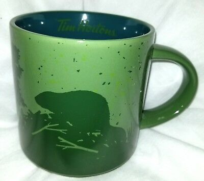 NEW Tim Hortons  2017  MUG Cup  BEAVERS Green Gift Box  FREE SHIPPING FROM U.S.