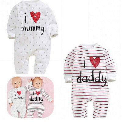 I Love Mummy & Daddy  Baby Boy Girl Baby grow Sleepsuit rompers Pro Pop*