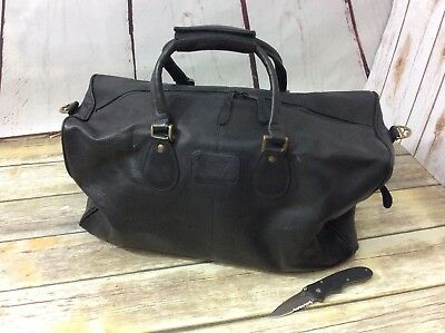 Vintage COLUMBIA Black Leather Men's Duffle Overnight Carry-On Bag