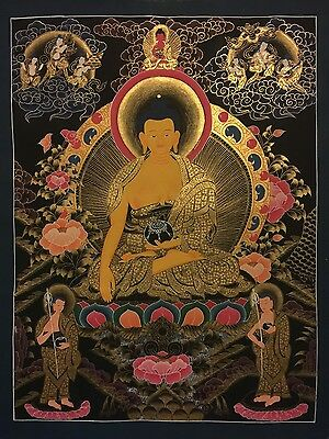 Tibetan Chinese HandPainted MasterPiece Shakyamuni Buddha Thangka  Gold Painting