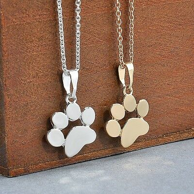 """3/4"""" DOG CAT PAW Colored Charm Necklace with 18-20"""" Adjustable Chain (W1123)"""