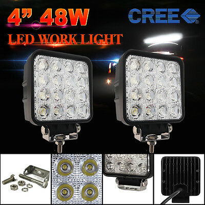 2x 48W LED Flood Work Light Bar Lamp Philips Lumileds Offroad Tractor Truck 4WD