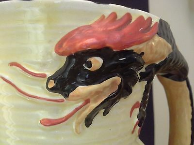 ART DECO English Burleigh Ware DRAGON Handle Art Pottery Jug Pitcher c1940
