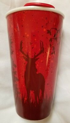 NEW Tim Hortons 2017 TRAVEL MUG Cup CARIBOU Deer  Red SHIPPED FROM U.S.