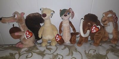 TY Beanie Babies Ice Age collection Manny, Scrat, Buck, Sid Diego
