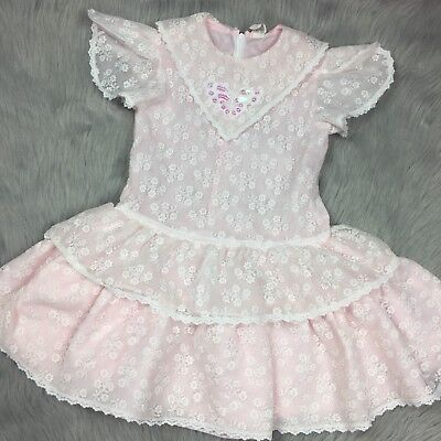 Vintage Pink White Lace Butterfly Floral Ruffle Toddler Girls Dress *FLAWED