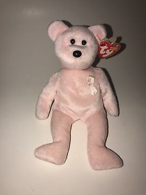 ty beanie babies/Cure bear/ breast cancer/retired/ Rare plush pink charity NWT