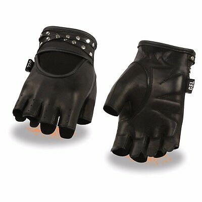 Milwaukee Leather Women's Leather Fingerless Gloves W/ Gel Pam & Studs - SH461